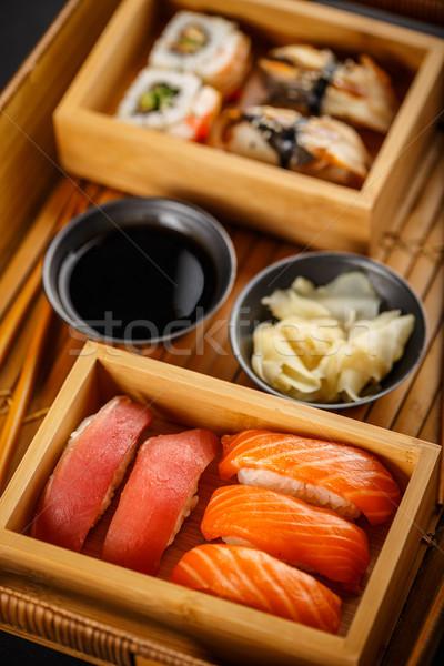 Sashimi sushi ingesteld sojasaus gember voedsel Stockfoto © grafvision