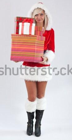 Miss Santa with gift box  Stock photo © grafvision