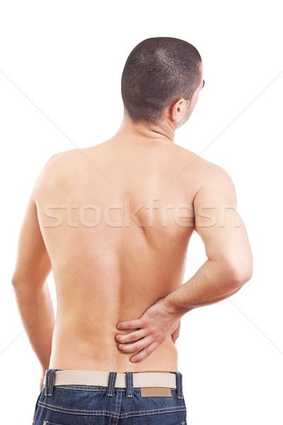 Fiatalember hátfájás izolált fehér kéz arc Stock fotó © grafvision