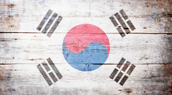 флаг Южная Корея окрашенный древесины доска Сток-фото © grafvision