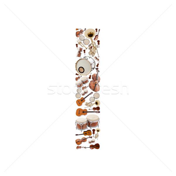 Stock fotó: Hangszerek · ábécé · fehér · i · betű · fa · gitár