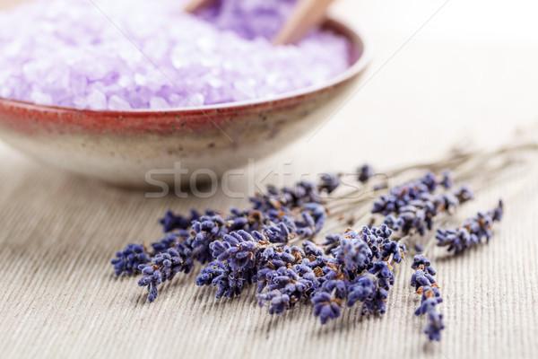 Lavanta çiçekler kuru tekstil mavi kozmetik Stok fotoğraf © grafvision
