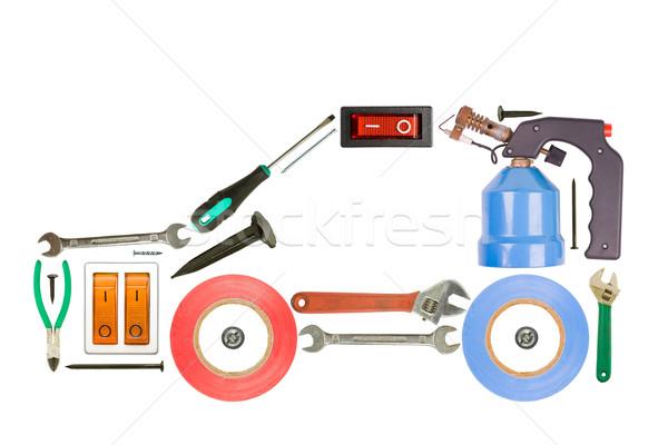 Narzędzia auto odizolowany biały budowy tle Zdjęcia stock © grafvision