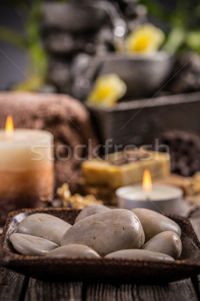Stock photo: Stones and aromatic candles