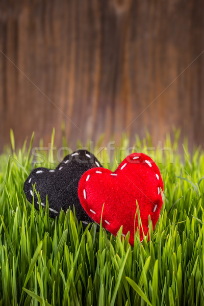 Red and black felt hearts Stock photo © grafvision