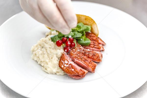 Ganso mama rebanada chef blanco placa Foto stock © grafvision
