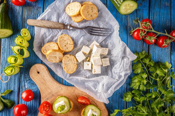 Bruschetta gezouten top kubus Stockfoto © grafvision