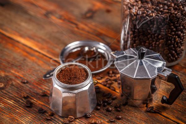 землю кофе банка кофеварка деревенский Сток-фото © grafvision