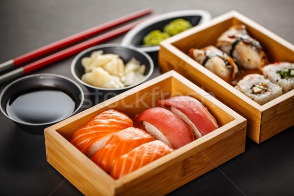 Stock photo: Sushi set, sushi rolls