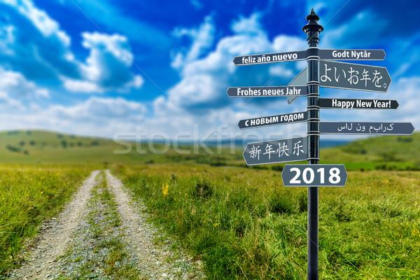 Stok fotoğraf: Tabelasını · happy · new · year · çok · alan · yol