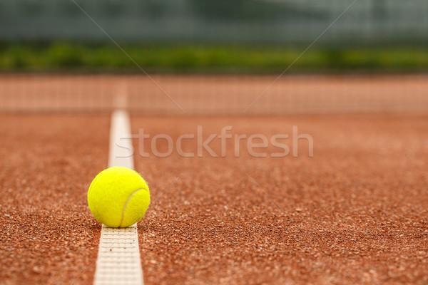 Teniszlabda közelkép piros felület agyag bíróság Stock fotó © grafvision