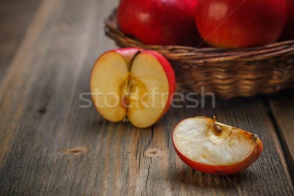 四半期 リンゴ 古い 木板 食品 ストックフォト © grafvision