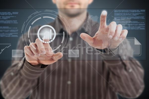 Toekomst man kantoor wereld technologie Stockfoto © grafvision