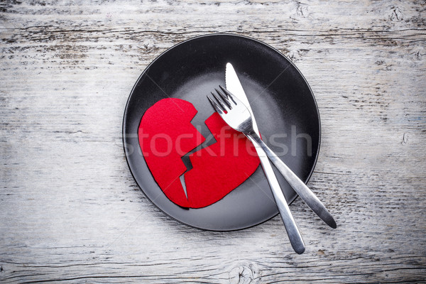 Plaat houten hart tabel diner Stockfoto © grafvision