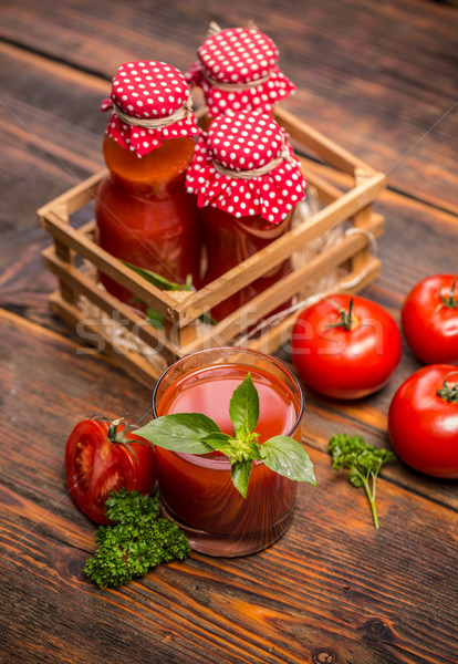 Tomatensap eigengemaakt glas houten tafel drinken fles Stockfoto © grafvision