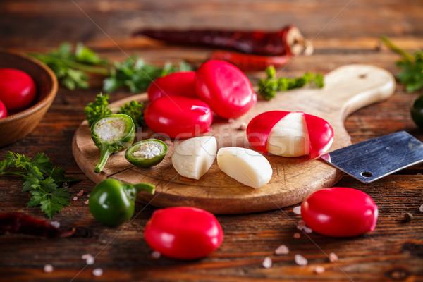 ミニ チーズ ソフト カバー 赤 ワックス ストックフォト © grafvision
