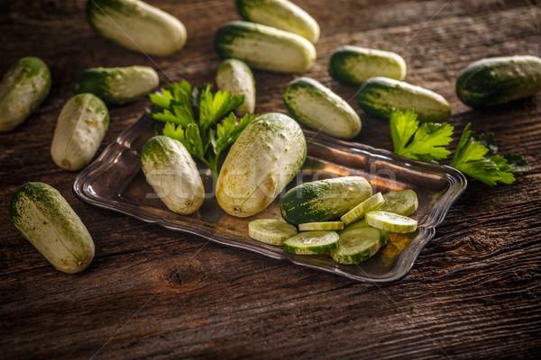 Orgânico mini pepinos escuro comida Foto stock © grafvision