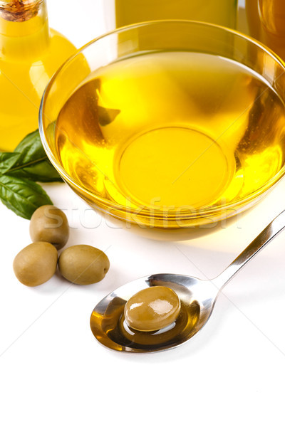 Olive oil and green olives Stock photo © grafvision