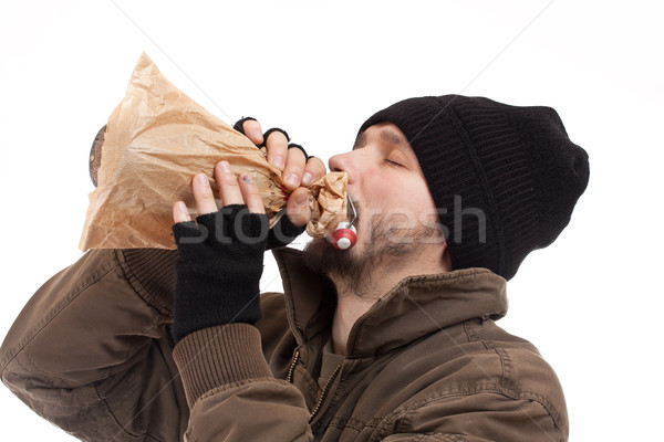 Daklozen man fles alcohol geneeskunde Stockfoto © grafvision