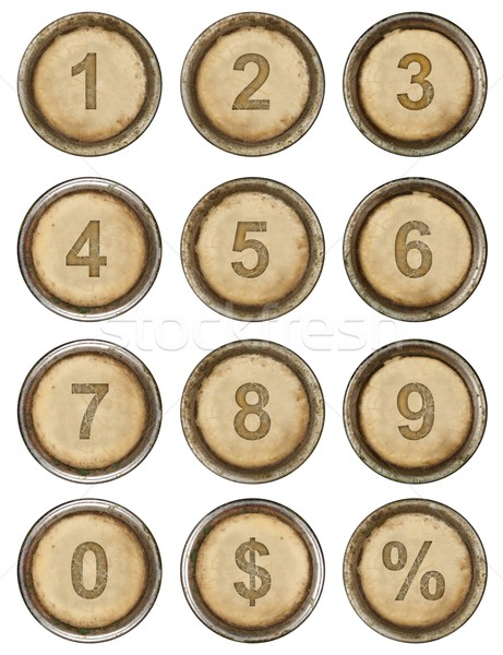 Numeri grunge macchina da scrivere tasti bianco tastiera Foto d'archivio © grafvision