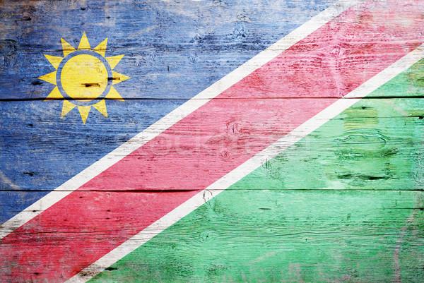 флаг Намибия окрашенный древесины доска Сток-фото © grafvision