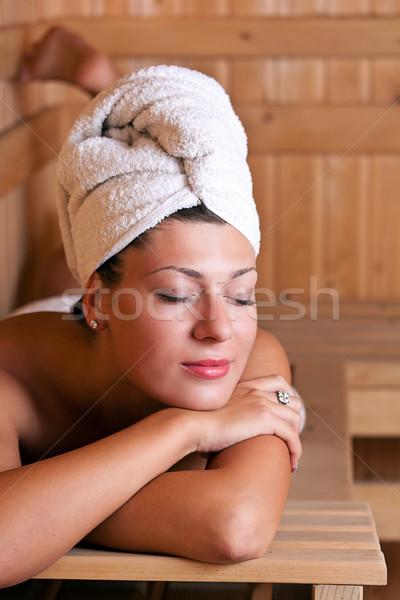 Vrouw ontspannen sauna mooie jonge vrouw meisje Stockfoto © grafvision