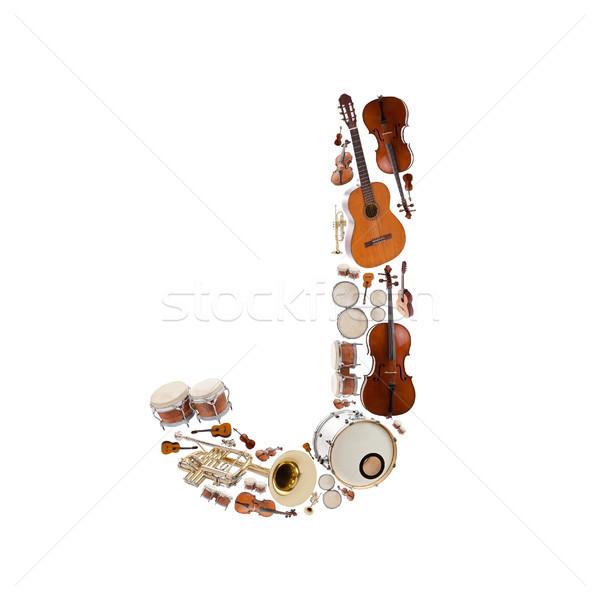 музыкальные инструменты алфавит белый письме дерево гитаре Сток-фото © grafvision