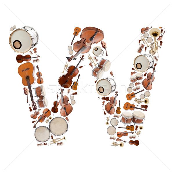 музыкальные инструменты письме алфавит белый дерево Сток-фото © grafvision