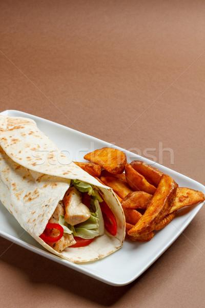 新鮮な トルティーヤ パン メキシコ料理 野菜 食事 ストックフォト © grafvision