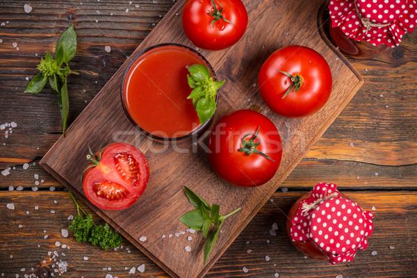 Suco de tomate topo ver fresco tomates servido Foto stock © grafvision