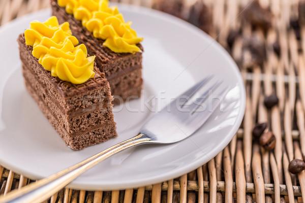 темный шоколад торт служивший белый пластина вилка Сток-фото © grafvision