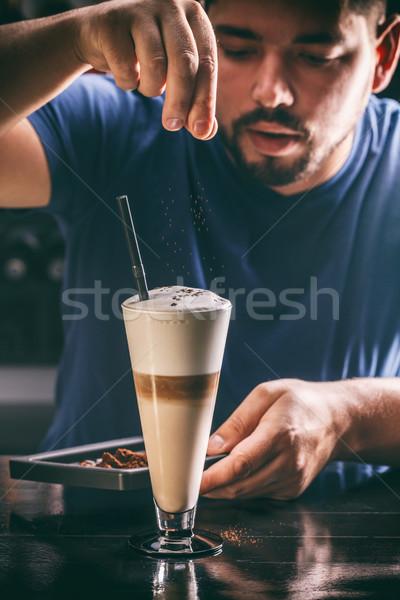 Barista decorating latte Stock photo © grafvision