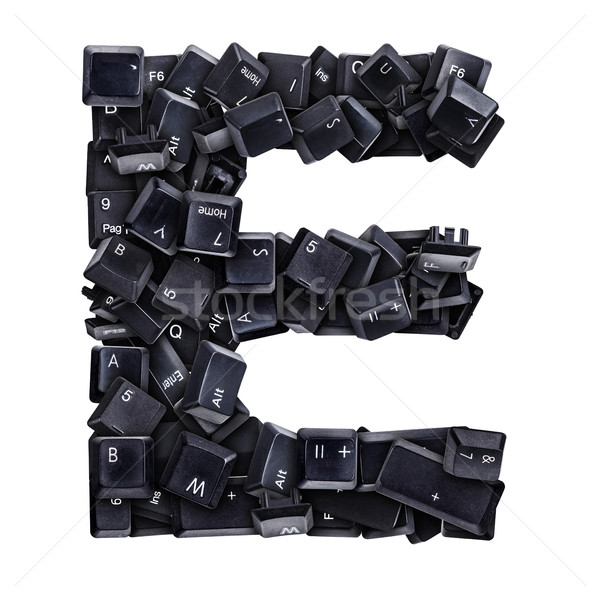 Stock photo: Letter E made of keyboard buttons