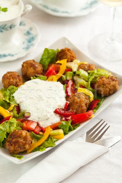 混合した サラダ ミートボール ディナー 白 ランチ ストックフォト © grafvision