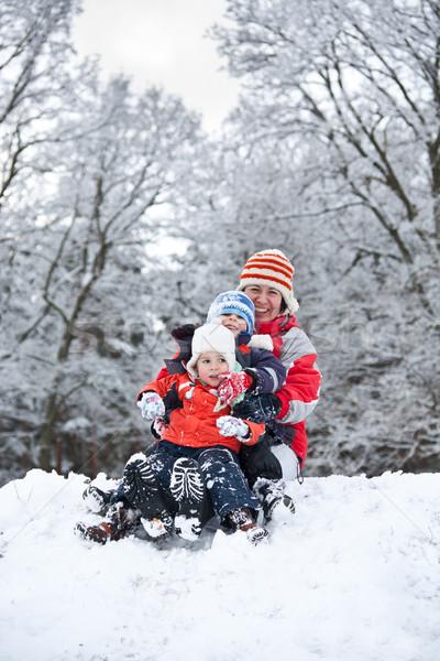 Anya gyerekek ül hó pár tél Stock fotó © grafvision