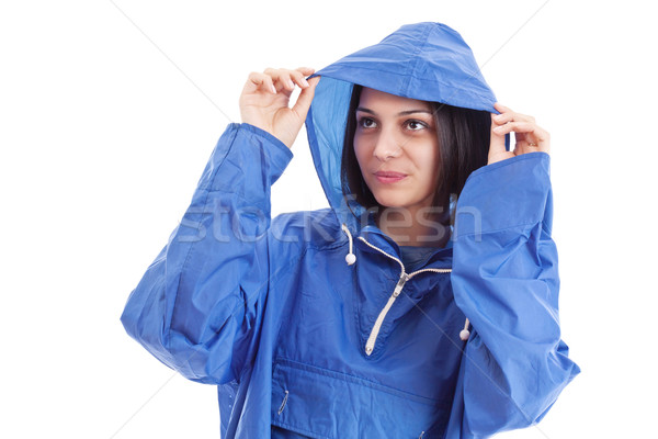 Woman wearing raincoat Stock photo © grafvision