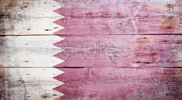 Bayrak Katar boyalı ahşap Stok fotoğraf © grafvision
