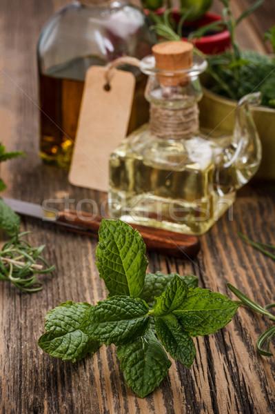 Aceite de cocina frescos menta naturaleza girasol comer Foto stock © grafvision