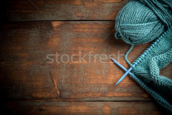 Blue knitting wool Stock photo © grafvision