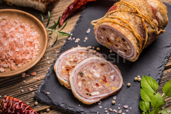 Gevuld varkensvlees borst vintage houten Stockfoto © grafvision