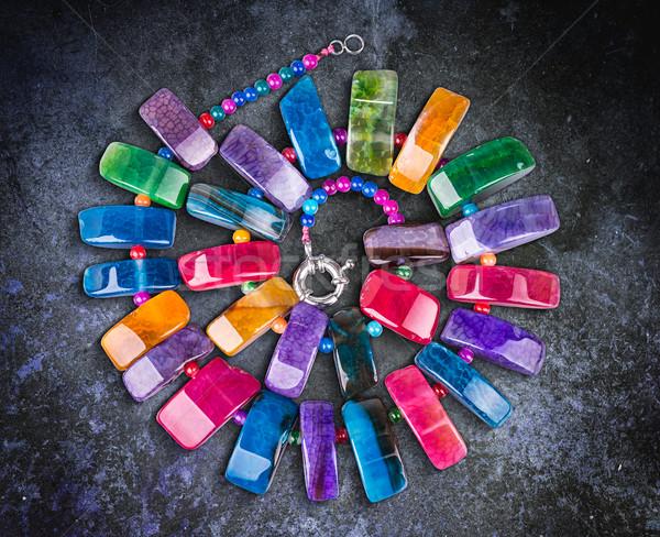 красочный камней ожерелье природного моде дизайна Сток-фото © grafvision