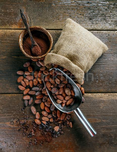 Cacao fagioli polvere ciotola cioccolato Foto d'archivio © grafvision
