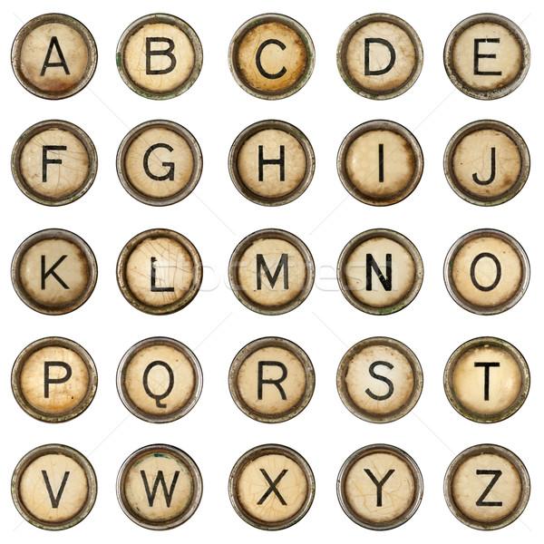 Alfabeto grunge máquina de escrever teclas branco teclado Foto stock © grafvision