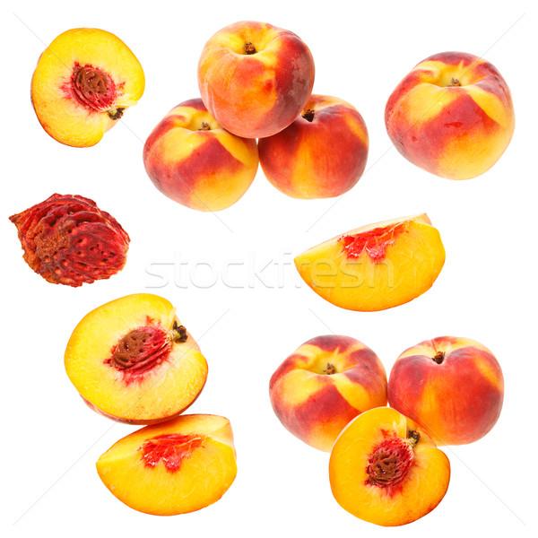 Coleção pêssegos isolado branco natureza fruto Foto stock © grafvision