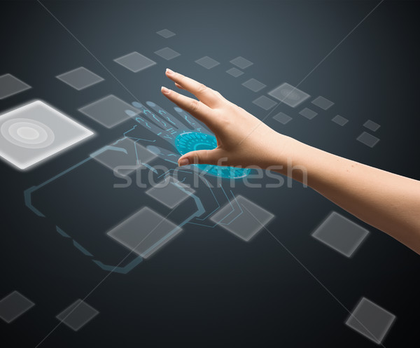 Digitale vrouw vinger interface computer Stockfoto © grafvision