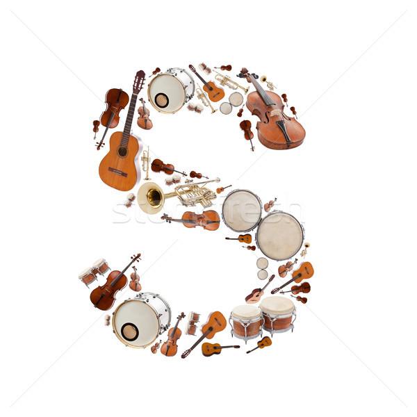 Hangszerek levél ábécé fehér fa gitár Stock fotó © grafvision