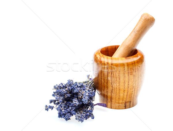 Stockfoto: Drogen · lavendel · houten · bloemen · witte · geneeskunde