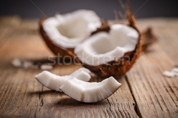 Broken raw ripe coconut  Stock photo © grafvision