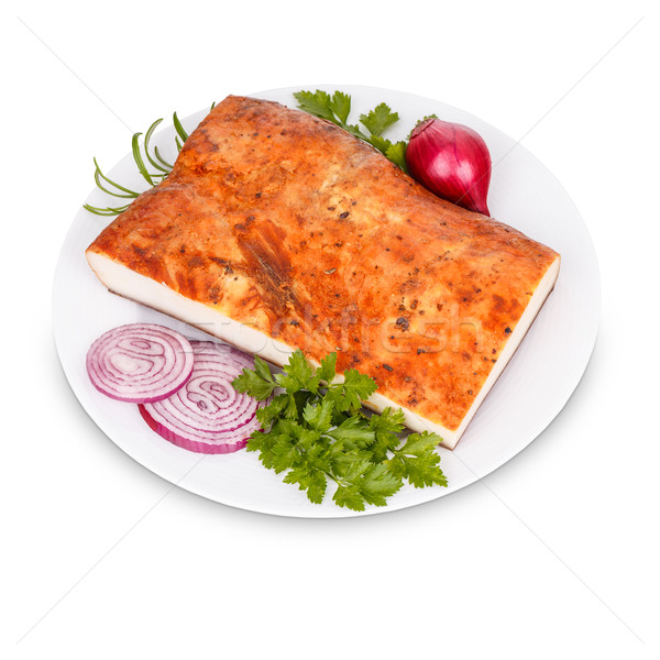 Yağ domuz pastırması soğan beyaz plaka gıda Stok fotoğraf © grafvision