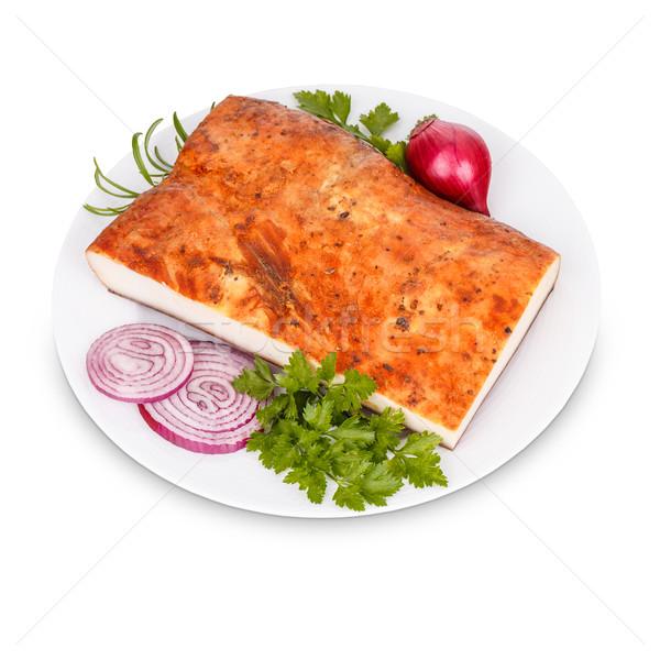 Vet spek ui witte plaat voedsel Stockfoto © grafvision